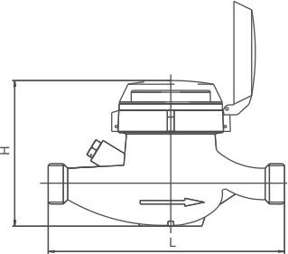 Габаритные размеры крыльчатых водосчётчиков МЕТЕР ВК