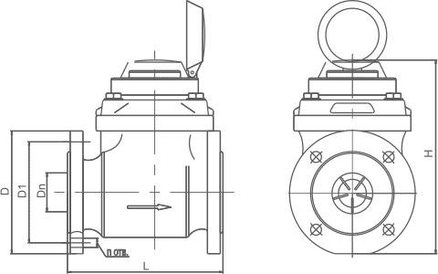 Габаритные размеры Турбинные водосчётчики МЕТЕР ВТ